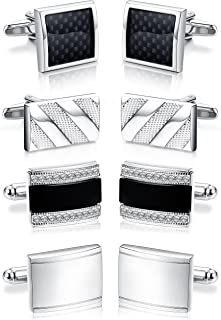 4 Pairs Cufflinks for Men Cufflinks Set for Groomsman Tuxedo Wedding Silver Tone