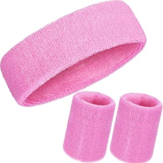 WILLBOND 3 Pieces Sweatbands Set, Includes Sports Headband and Wrist Sweatbands Cotton Sweat Band for Athletic Men and Women