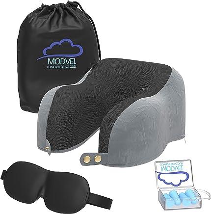 Modvel 颈托枕:*泡沫旅行靠垫适用于飞机和汽车旅行,舒适柔软、紧凑且易于携带 - 带耳塞和夜罩 (MV-133)