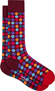 "PAUL SMITH ""Daley Polka"" Mens Cotton One Size Socks Purple with Pink, Orange & Blue Dots"