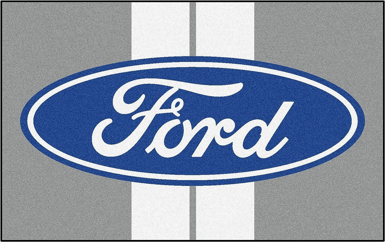 Fan Mats Ford Oval W Stripes Ulti-Mat Rug 60 X