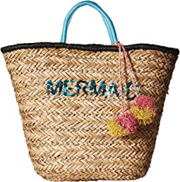 BSB1729 Seagrass Tote with Mermaid Embroidery with Pom