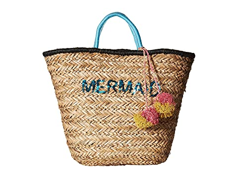 Bsb1729 Seagrass Tote With Mermaid Embroidery With Pom, Natural