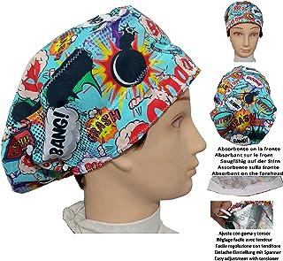 Cappello di sala operatoria BOOM per Capelli Lunghi, chirurgia, dentista, veterinaria, cucina, Asciugamano davanti, regola...