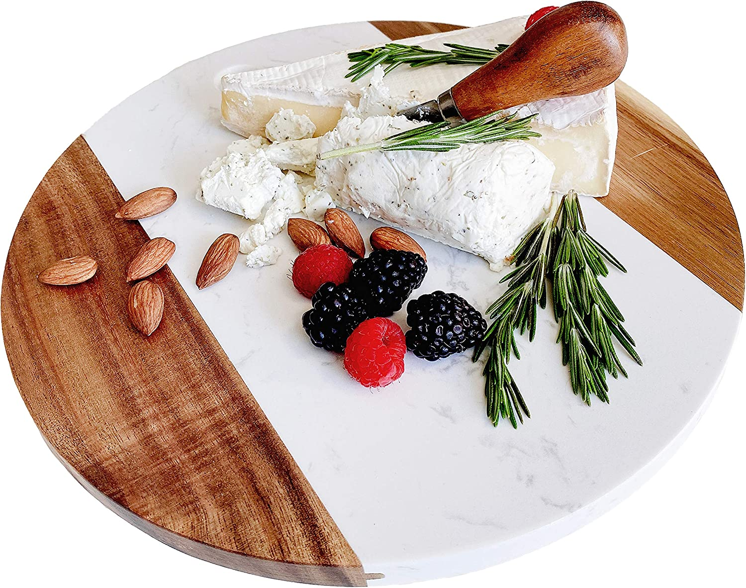 Marble Cheese Bargain sale Board with Acacia Accent Award-winning store Round 11