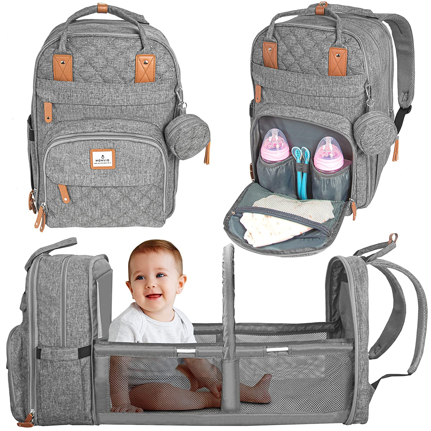 MOMVIO Diaper Bag with Changing Station - Large Capacity Foldable Diaper Backpack with Travel Bassinet for Baby - Multi-Functional Baby Diaper Bag Backpack with Changing Pad, Stroller Straps (Grey)