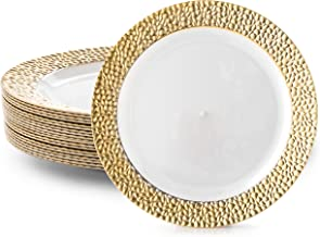 DAZZLE PLASTIC PARTY DISPOSABLE PLATES | 6 Inch Hard Round Wedding Dessert Plates | White with Gold Rim, 40 Pack | Elegant & Fancy Heavy Duty Party Supplies Plates for all Holidays & Occasions