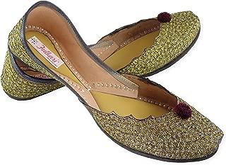 Fulkari Prime Snow Women's Soft Leather Bite and Pinch Free Punjabi Flat Ladies Jutti Ethnic Mojari Shoe