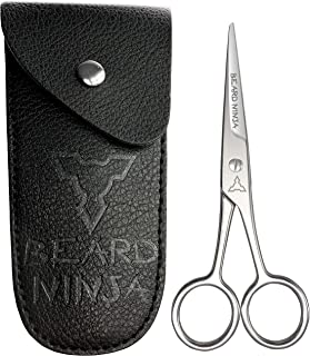 BEARD NINJA - Professional beard scissors for men. Mustache & Beard trimming scissors +PU Leather case. Sharp shears for shaping/cutting of mustaches, nose hair, trim eyebrow. Add to grooming kit.