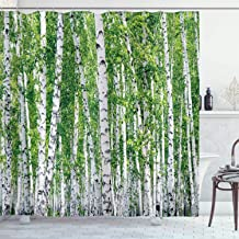 Ambesonne Birch Tree Shower Curtain, Fresh Green Leaves Summer Forest Rural Landscape Lush Environmental Image, Cloth Fabric Bathroom Decor Set with Hooks, 75