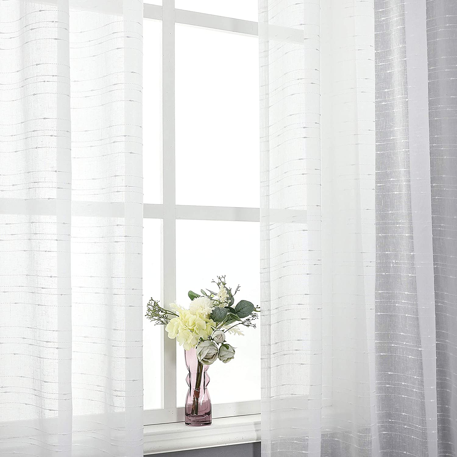 Caromio White Kitchen Curtains 2 Pack 26 Inch Wide X 24 Inch Long White Small Sheer Tier Curtains Cafe Curtain Set Rod Pocket Bathroom Window Curtain Tiers Curtains Drapes Ekbotefurniture Com