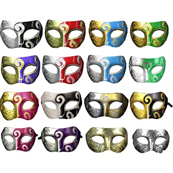 Unisex Retro Masquerade Mask Mardi Gras Costume Party Acccessory(pack of 16)