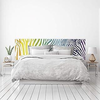 MEGADECOR Cabecero Cama PVC Decorativo Económico Diseño Cebra Arcoiris Varias Medidas (150 cm x 60 cm)