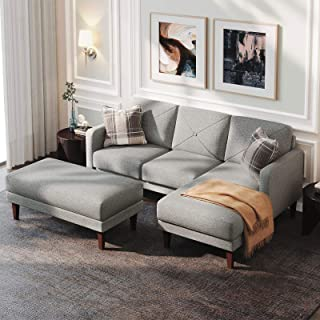 Belffin Convertible Sectional Sofa Couch with Ottoman Reversible L Shaped Sofa Couch Set with Modern Fabric Grey