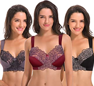 1f256b8db0 Curve Muse Plus Size Unlined Minimizer Wire Free Bra with Embroidery  Lace-3Pack