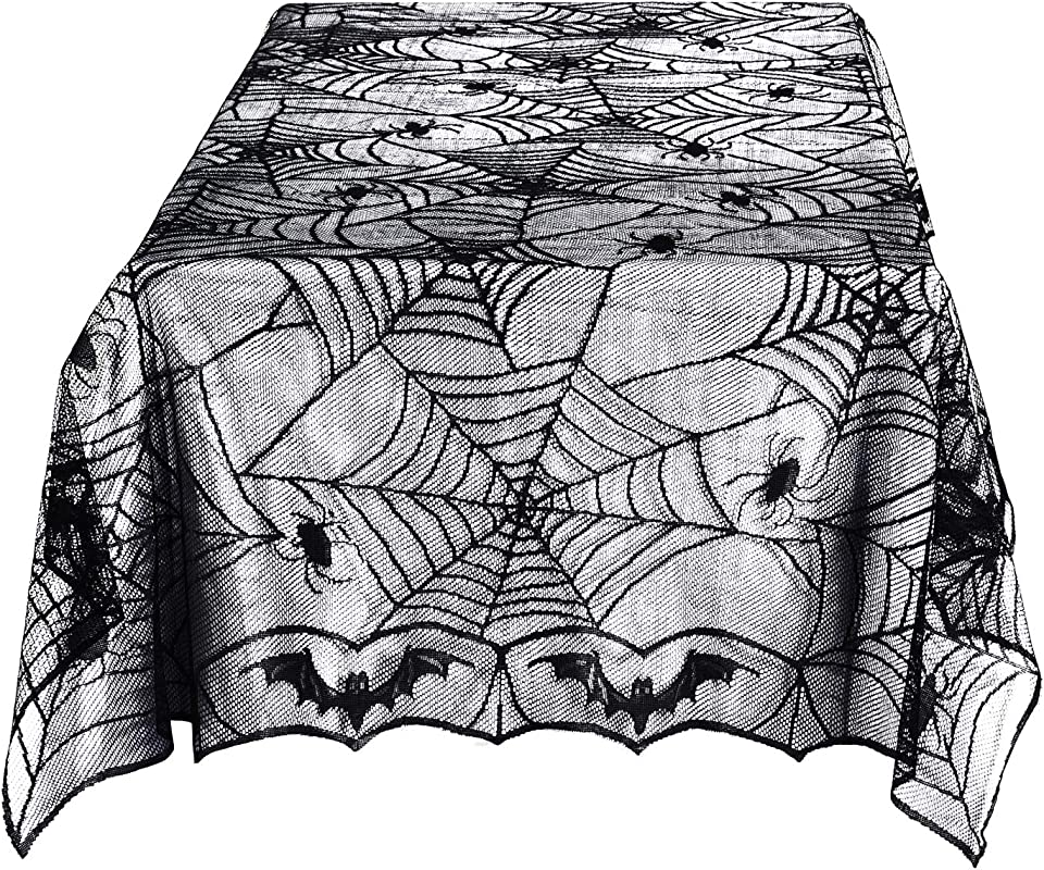 Halloween Lace Tablecloth Black Lace Bat Spider Web Table Cover For Halloween Festive Supplies Kitchen Dinner Home D Cor