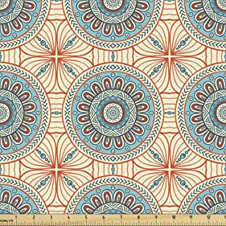 Sponsored Ad - Lunarable Tribal Fabric by The Yard, Abstract Style Background Flower Pattern Print, Decorative Fabric for ...