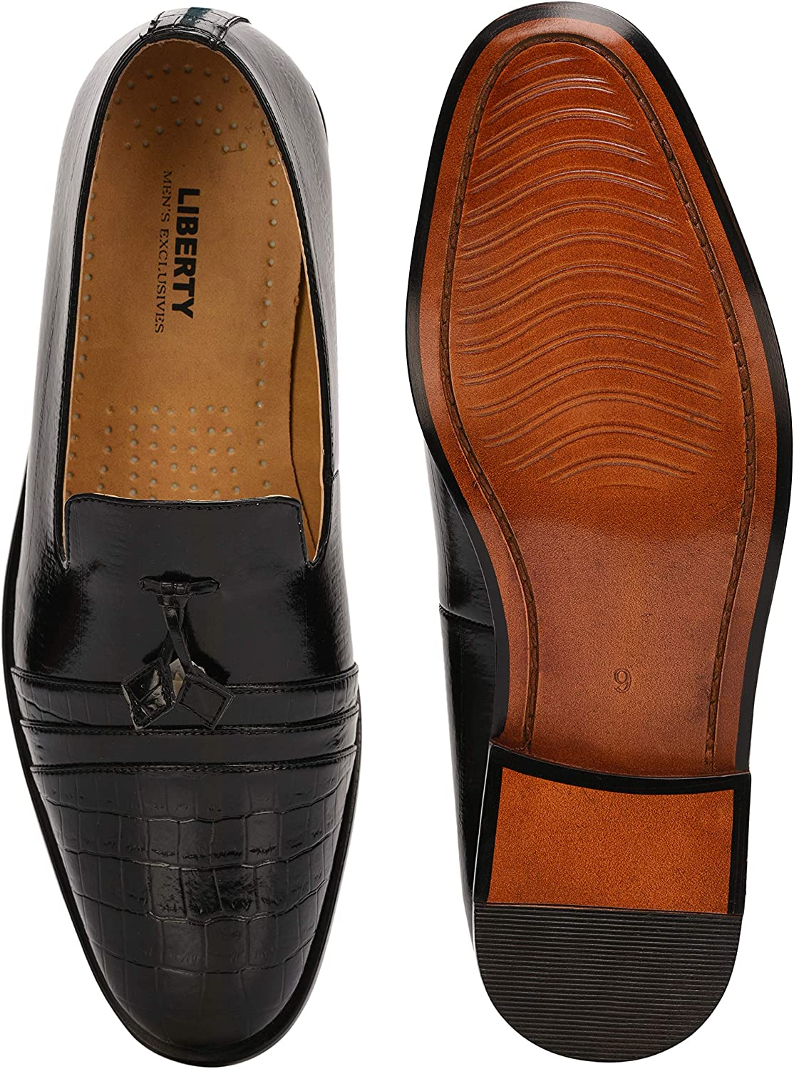 Liberty Footwear LIBERTYZENO Slip-On for Mens//Big Boys PU Leather Cushioned Footbed Tassels Loafer Shoes