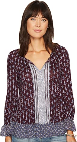 Mix Print Peasant Top