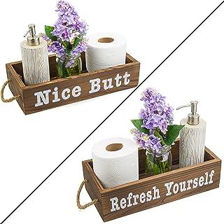 Vero Home Goods 素敵なお尻 バスルーム装飾ボックス 両面 ファームハウス 素朴な木製クレート トイレットペーパーホルダー トイレットペーパー収納 素朴なバスルーム装飾(ブラウン)