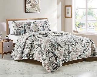 Fancy Linen Coverlet Bedspread Set Paris Butterflies Eiffel Tower Birds Flowers Bird Cage Beige Black Turquoise Pink New #...