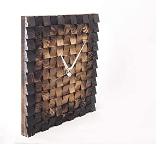 Jizayn Handmade Nature Wooden Wall Clock Decorative Wall Art Watch Rustic Wooden Mosaic Modern Wood Art Wall Hanging 3D Wall Art Handicraft