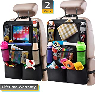 """Helteko Backseat Car Organizer - Kick Mats Back Seat Protector with 10"""" Tablet Holder - Car Back Seat Organizer for Kids - Car Travel Accessories - Kick Mat with 8 Storage Pockets (2 Pack)"""