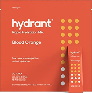 Hydrant Blood Orange Rapid Hydration Mix Version 2 | Electrolyte Powder | Dehydration Recovery Drink Blend | Simple Ingredients | Vegan | 30pk