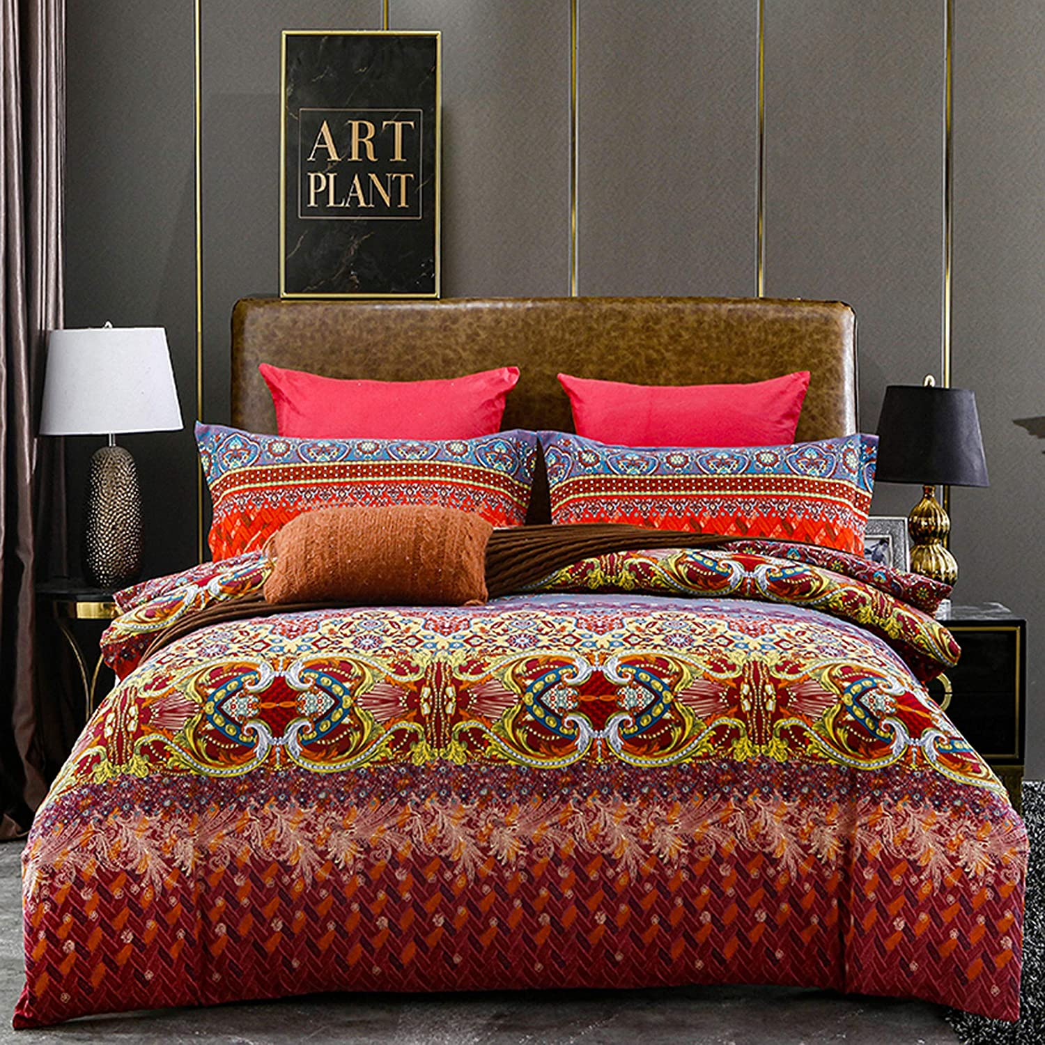 Opening large release sale Xiongfeng Retro Bohemian Duvet Cover Ethnic Boho King Bed Max 74% OFF Floral