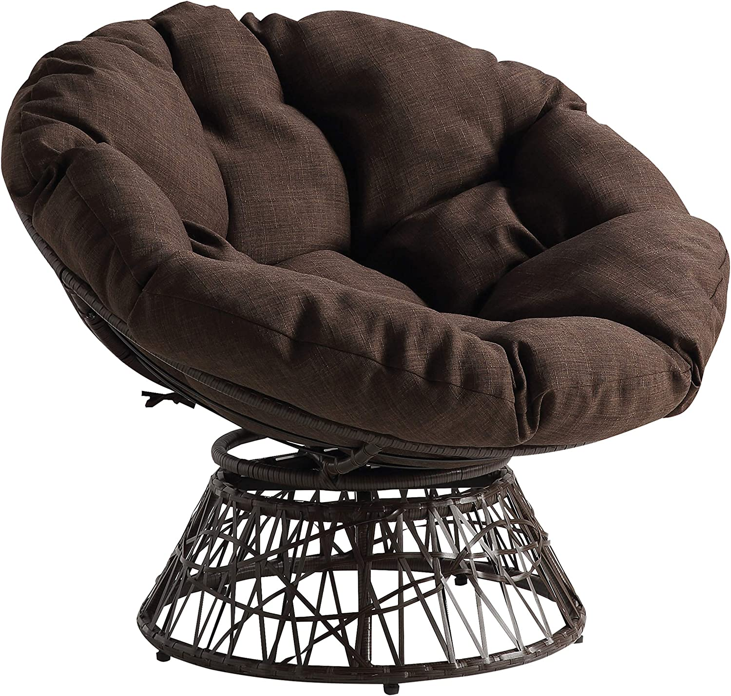 OSP Home Furnishings Wicker Import Papasan Swivel 2021 model 360-Degree with Chair