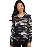 DKNYC - Marbled Ink Crinkle Sheer Double Layer Blouse