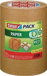 tesapack Paper ecoLogo im 3er Pack - Umweltgerechtes Paketband aus Papier, 60 % biobasiertes Material - Braun - 3 Rollen je 50 m