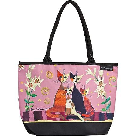 VON LILIENFELD Handtasche Damen Kunst Motiv Katzen Rosina Wachtmeister Lilien Shopper Maße L42 x H30 x T15 cm Strandtasche Henkeltasche Büro