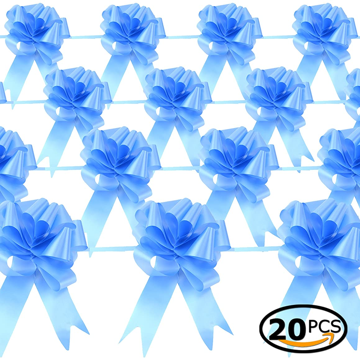 Star Quality Elegant Pull Bow for Gift Package   Solid Color Gift Decoration Bow Great for Wedding, Birthday and Parties (6-1/2 Inch, Light Blue)
