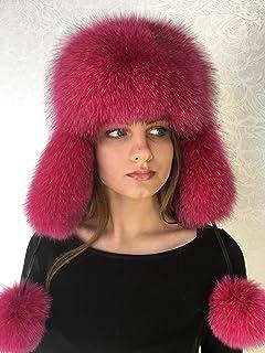 654569f3 Blue Fox Fur Ushanka Hat Raspberry Pink With Leather Saga Furs Women's  PomPom's