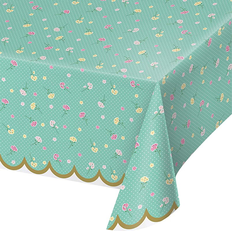 Floral Tea Party Plastic Tablecloths 3 Ct