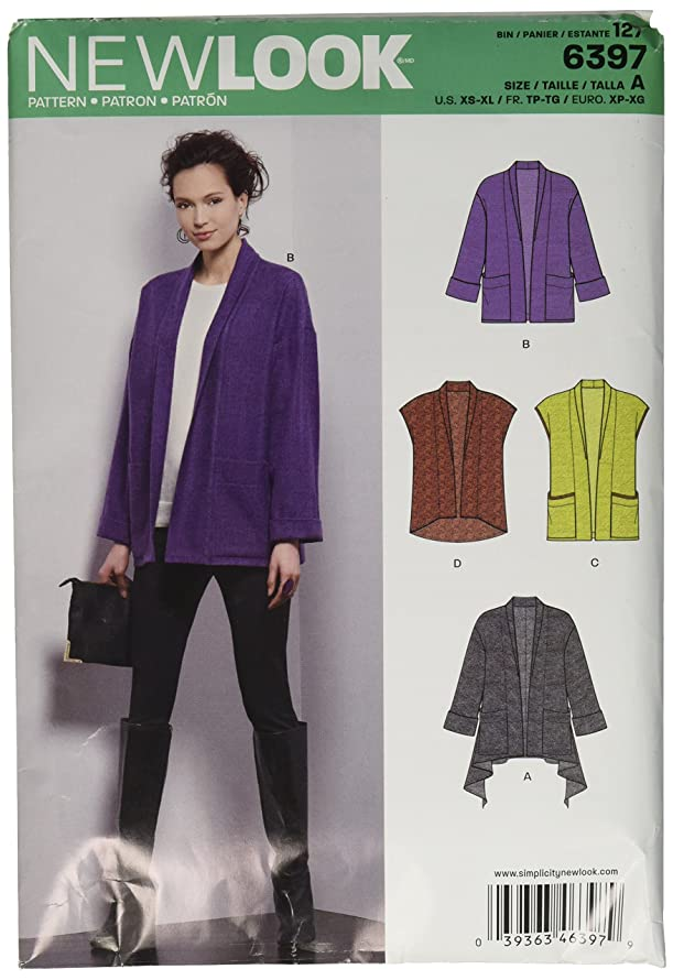 New Look Sewing Pattern UN6397A Autumn Collection Misses' Jacket & Vest Sewing Patterns, A (XS-S-M-L-XL)