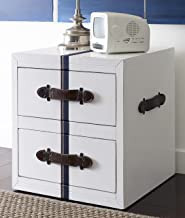 Tommy Hilfiger Fidelia Side Table with Signature Tommy Hilfiger Webbing and Leather Pulls in Old White Finish