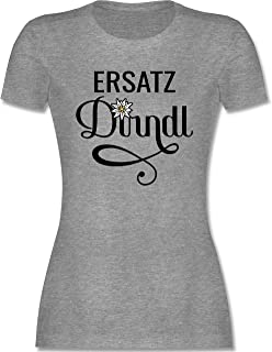Shirtracer Oktoberfest & Wiesn Damen - Ersatz Dirndl mit Edelweiß - Tailliertes Tshirt für Damen und Frauen T-Shirt
