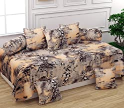 OICHY Microfiber 3D Printed Diwan Set of 8 Pieces, 5 Cushion Covers 2 Bolster Cover with Single bedsheet, Beige