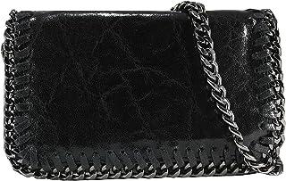 848fde681f FERETI sac à main Pochette cuir bandoulière pour femme Noir chaîne