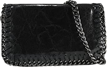 FERETI bolso negro de cuero bandolera con cadena