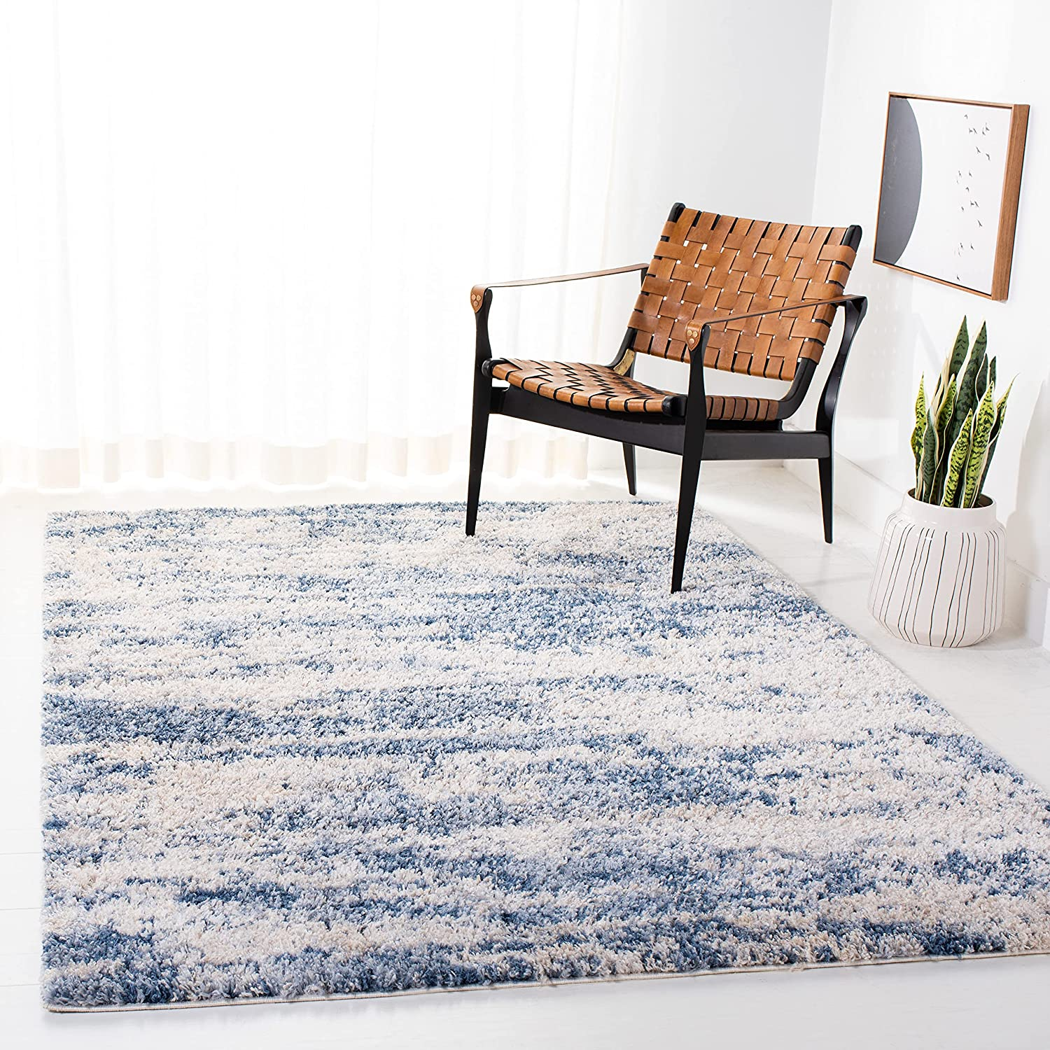 SAFAVIEH New item Berber Shag Collection Non-Shed Abstract BER219B Modern Recommended