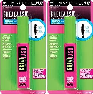 Maybelline New York Great Lash Waterproof Mascara Makeup, Very Black, 2 Count