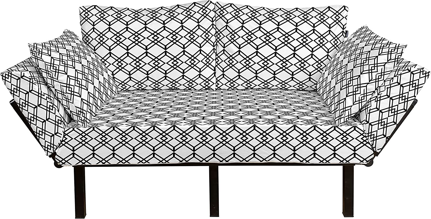 Ambesonne Black and White Futon Special sale Max 53% OFF item Couch Lines Monochro Grid Style