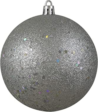"""Northlight Silver Holographic Glitter Shatterproof Ball Ornament, 4"""" (100mm)"""