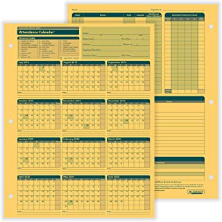 ComplyRight Fiscal Year Attendance Calendar, 2019-2020, Pack of 50
