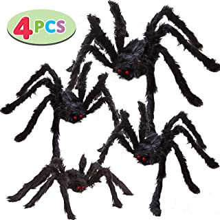 Four Halloween Realistic Hairy Spiders Set, Valuable Halloween Props, Halloween Spider Set for Indoor and Outside Decorations (One 47.25