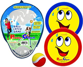 Funsparks Paddle Catch Toss and Catch Ball Set – Self Stick Paddle Ball Game with 2 Paddles, 1 Ball and 1 Storage Bag