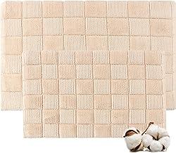 Cotton Bath Rugs Water Absorbent Check Design Bathmat Set of 2 (Size 17x24/17x24 Color Beige)